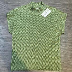 Petite Small Green Textured Short Sleeves TanJay
